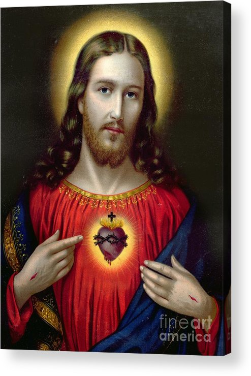 Jesus Acrylic Print featuring the painting The Sacred Heart Of Jesus by English School