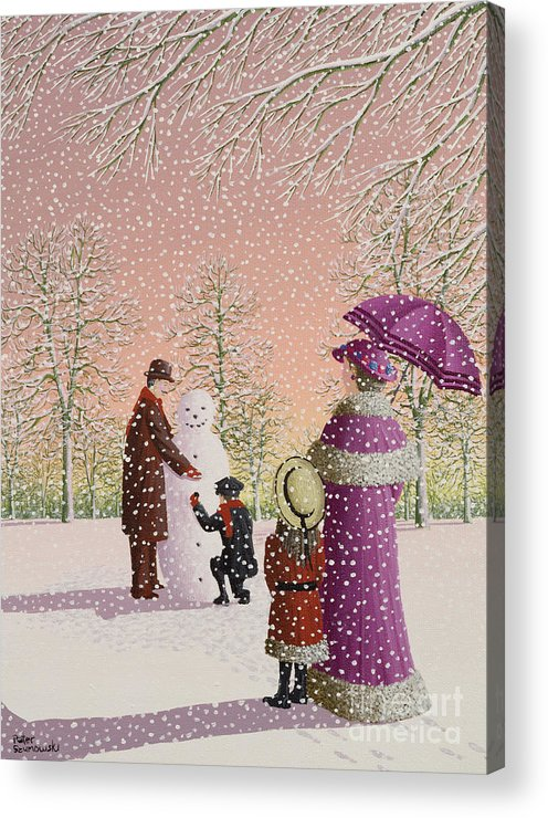 Snowman; Snow; Snowing; Winter; Cold; Woman; Umbrella; Parasol; Child; Children; Man; Playing; Outside; Landscape; Tree Acrylic Print featuring the painting The Snowman by Peter Szumowski