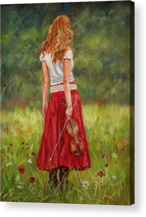 Girl Acrylic Print featuring the painting The Violinist by David Stribbling
