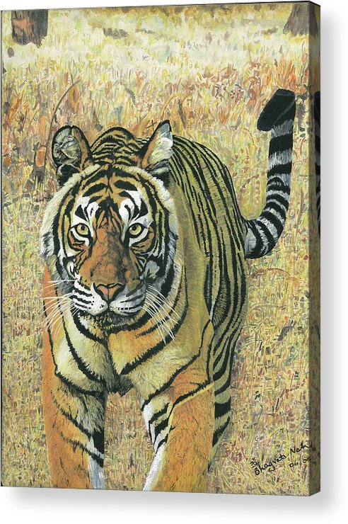 Tiger Acrylic Print featuring the painting Tiger Burning Bright by Bhagvati Nath