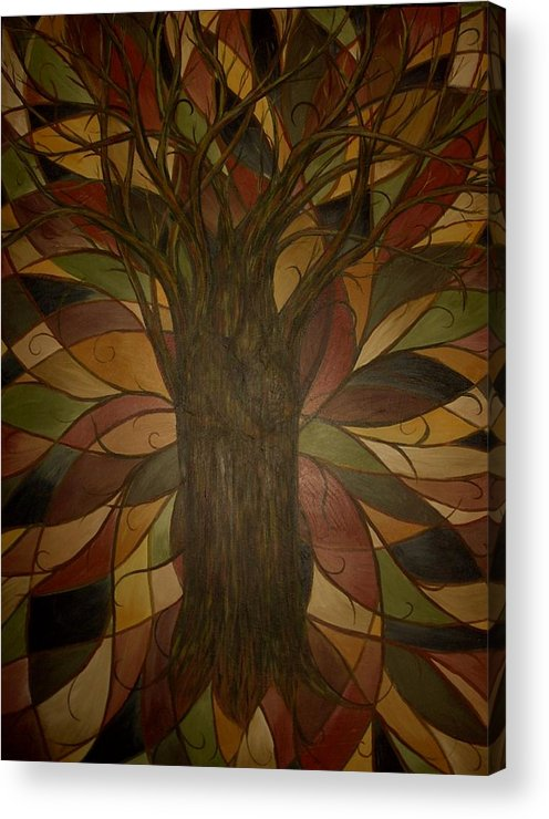 Tree Hidden Figures Love Embrace Anniversary Wedding Abstract Landscape Acrylic Print featuring the painting Tree Huggers by Sally Van Driest