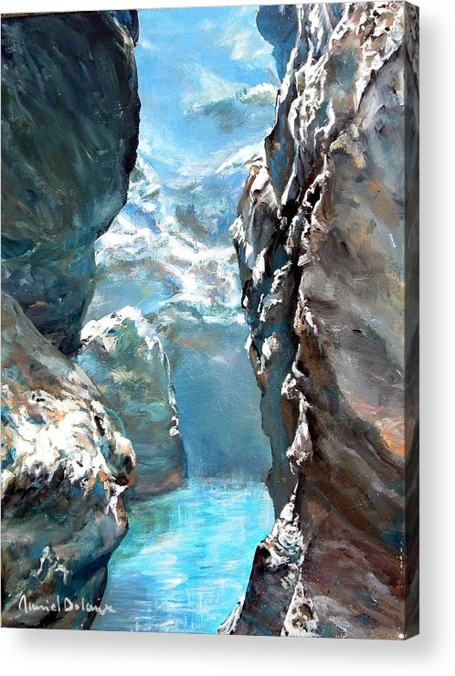 Landscape Acrylic Print featuring the painting Trouee 3 by Muriel Dolemieux