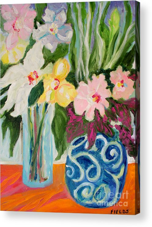 Acrylic Print featuring the painting Two Blue Vases by Karen Fields