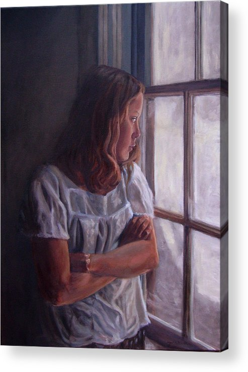 Woman At Window Acrylic Print featuring the painting Waiting by Tahirih Goffic