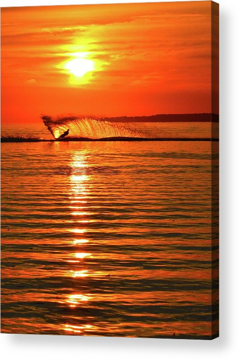 Abstract Acrylic Print featuring the photograph Water Skiing At Sunrise by Lyle Crump
