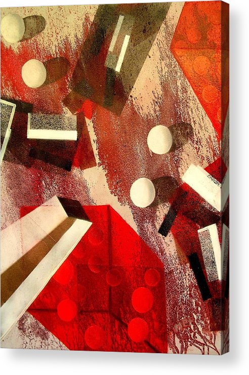 Acrylic Print featuring the painting White Runaway Dots by Evguenia Men