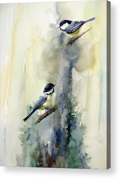 Chickadees Acrylic Print featuring the print Who Says by Lynne Parker