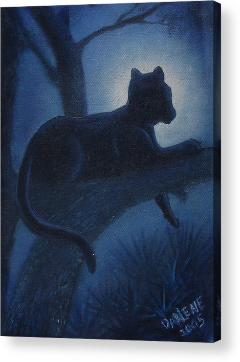 Cougar Acrylic Print featuring the painting Whos Watching Who Cougar by Darlene Green