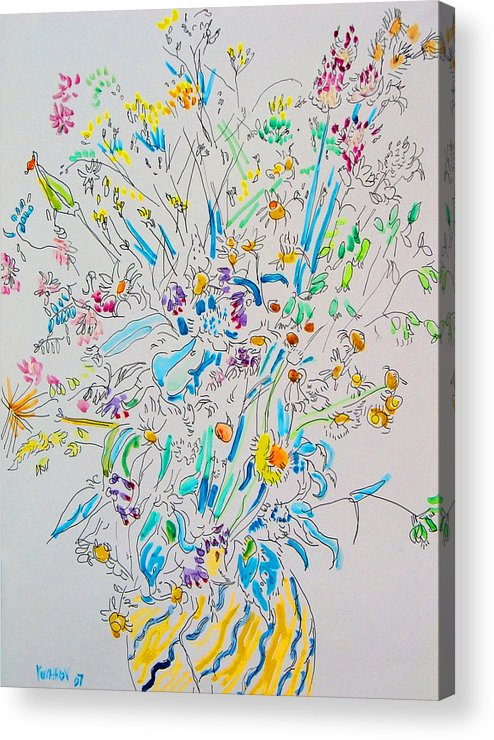 Wild Acrylic Print featuring the painting Wild Flowers by Vitali Komarov