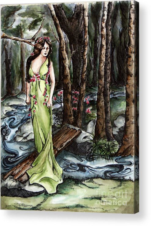 Art Nouveeau Acrylic Print featuring the painting Wood Nymph by Robin DeLisle