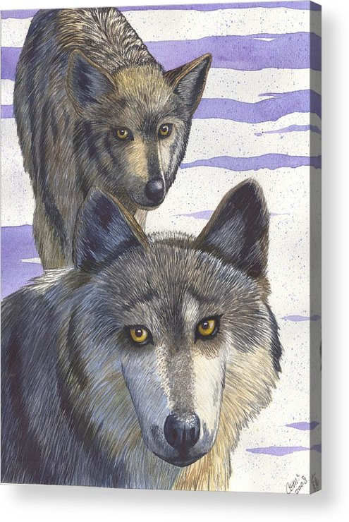 Wolf Acrylic Print featuring the painting Woofies by Catherine G McElroy