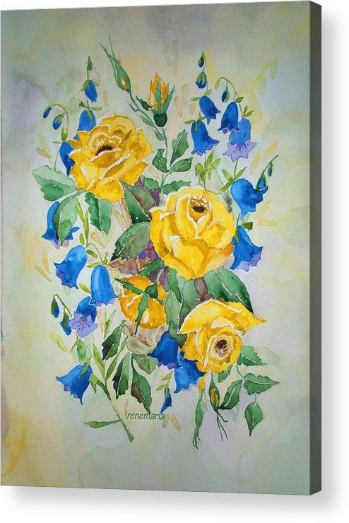 Roses Flowers Acrylic Print featuring the painting Yellow Roses And Blue Bells by Irenemaria