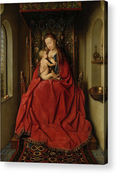 Jan Van Eyck Acrylic Print featuring the painting Lucca Madonna by Jan van Eyck