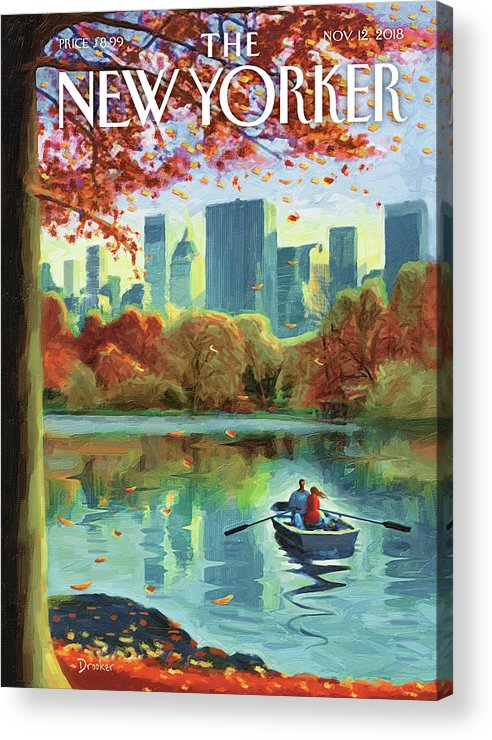 Autumn Central Park Acrylic Print featuring the drawing Autumn Central Park by Eric Drooker