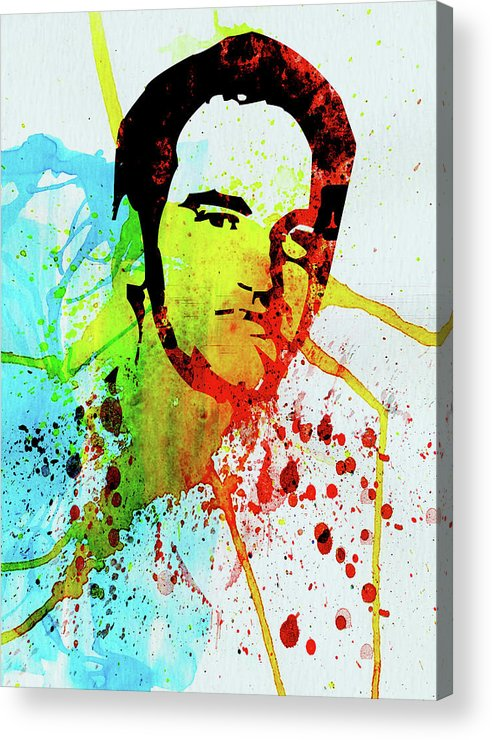 Quentin Tarantino Acrylic Print featuring the mixed media Legendary Quentin Watercolor I by Naxart Studio