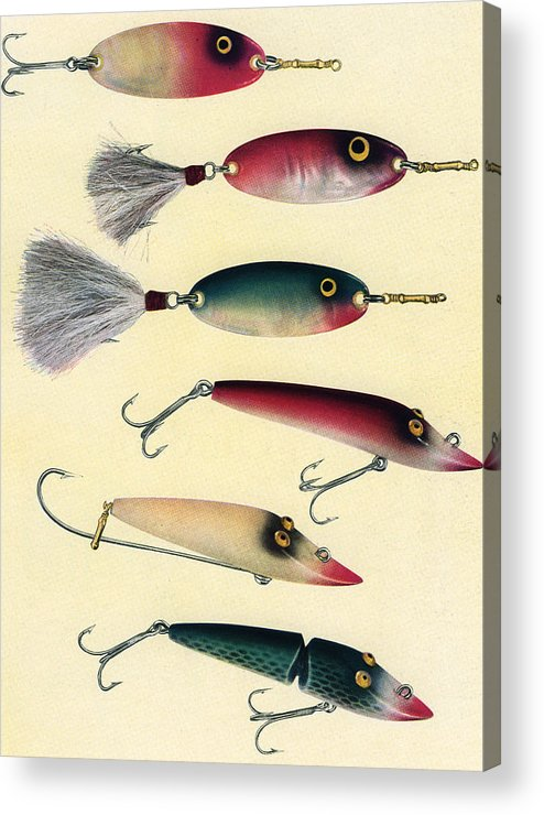 Sport Acrylic Print featuring the digital art Vintage Fishing Lures by Graphicaartis