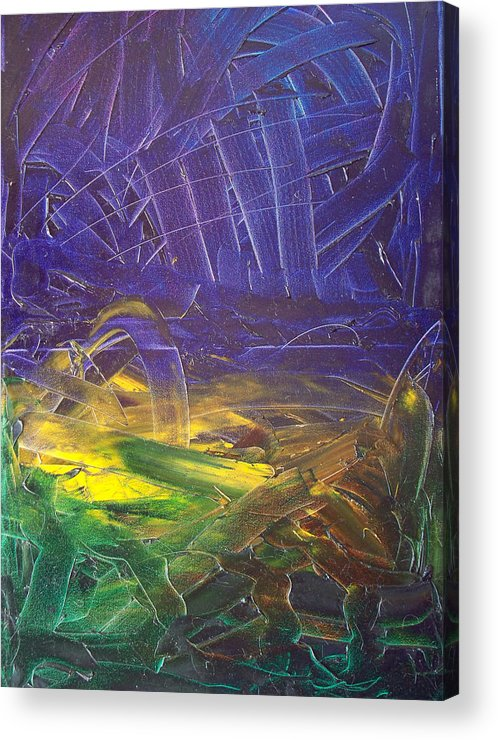Painting Acrylic Print featuring the painting Forest. Part2 by Sergey Bezhinets