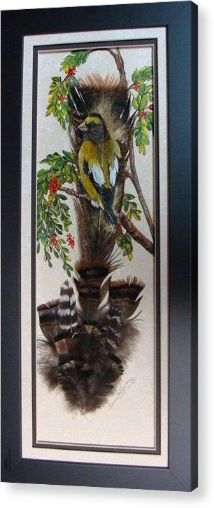 Grossbeak Acrylic Print featuring the painting Evening Grosbeak by Theresa Jefferson