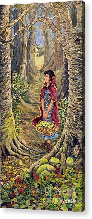 Forest Acrylic Print featuring the painting Red Riding Hood On The Path To Grama's House by Debbie Dan