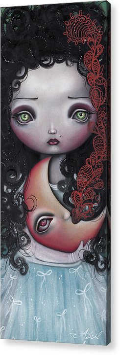 Moon Acrylic Print featuring the painting Moon Keeper by Abril Andrade Griffith