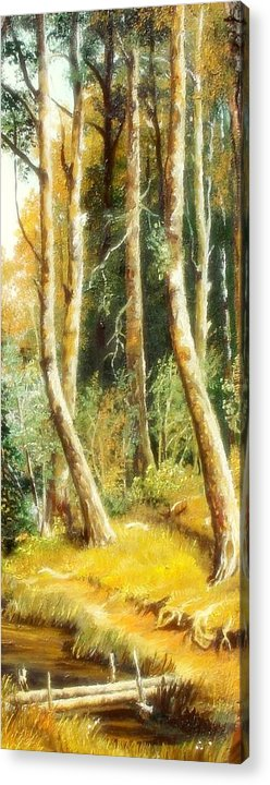 Birch Acrylic Print featuring the painting Birch Forest by Sorin Apostolescu