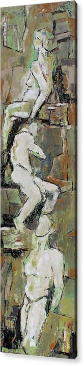 Nude Acrylic Print featuring the painting G Flat Minor by Becky Kim