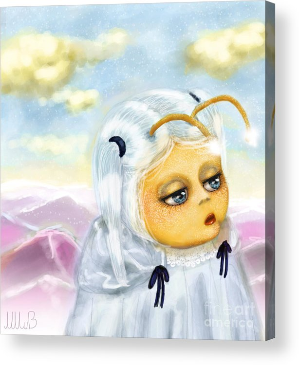 Cute Girl Acrylic Print featuring the painting Georgina Deep In Thought by Miss M von Baron