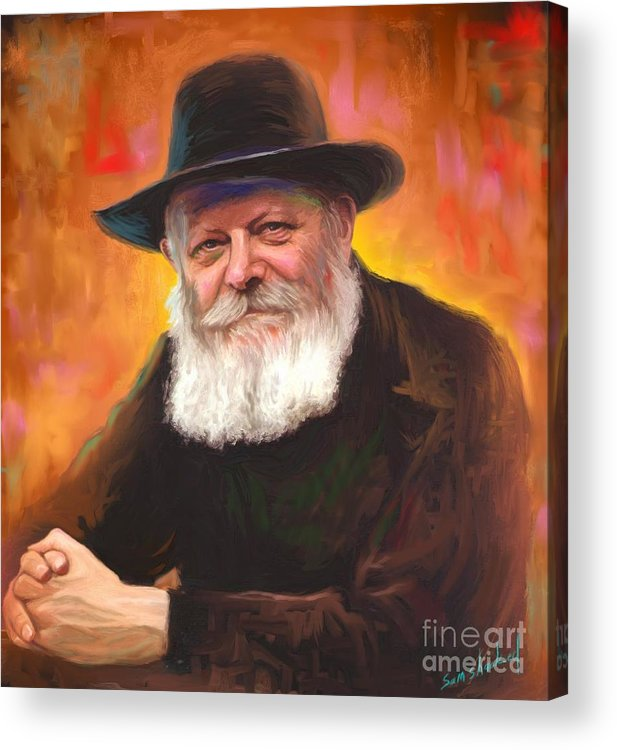 Lubavitcher Rebbe Acrylic Print featuring the painting Lubavitcher Rebbe by Sam Shacked