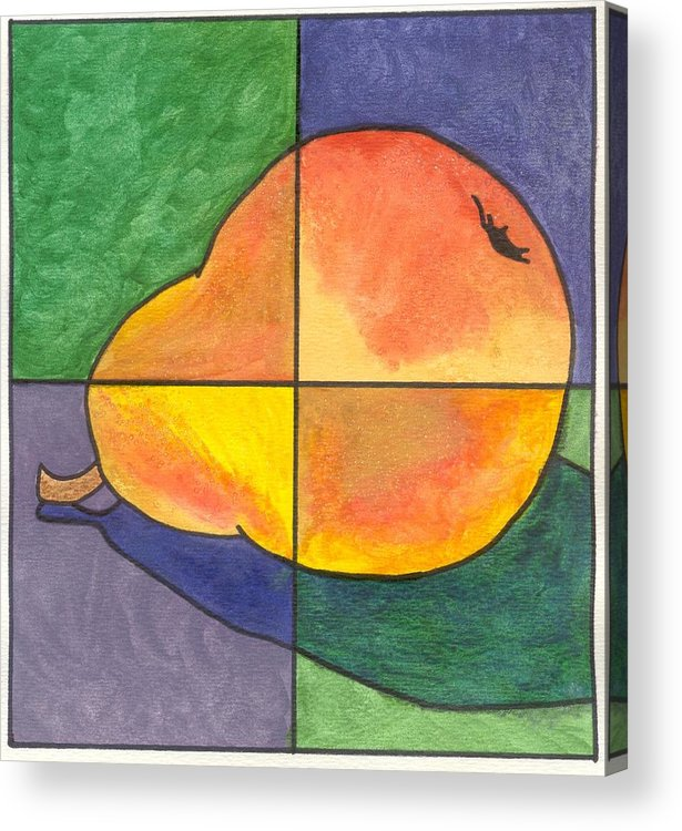 Pear Acrylic Print featuring the painting Pear II by Micah Guenther