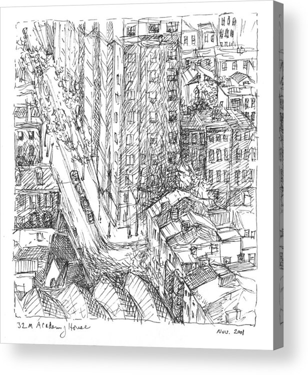 Philadelphia Acrylic Print featuring the drawing City Scape by Elizabeth Carrozza