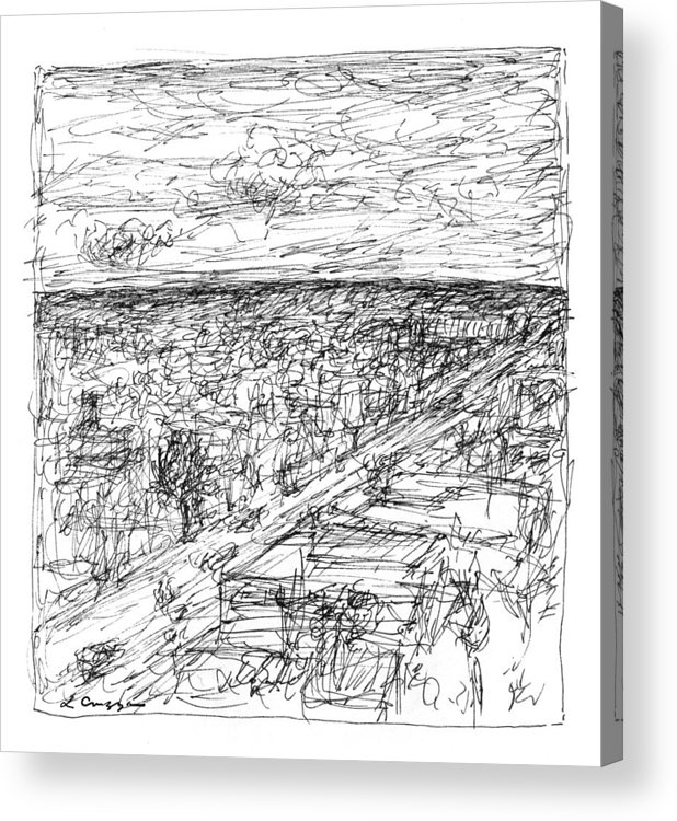 Landscape Acrylic Print featuring the drawing Skyline Sketch by Elizabeth Carrozza