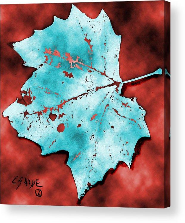 Blue Leaf Acrylic Print featuring the digital art Dancing Blue Leaf by Carolyn Saine