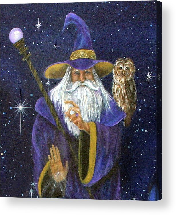 Merlin Acrylic Print featuring the painting Magical Merlin by Sundara Fawn