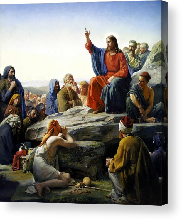 Sermon On The Mount Acrylic Print featuring the painting Sermon On The Mount by Carl Bloch