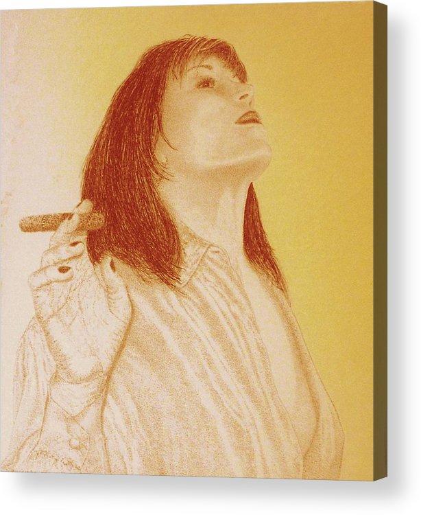 Female Woman Women Smoke Sexy Cigar Acrylic Print featuring the drawing Smoke N Fire by Tony Ruggiero