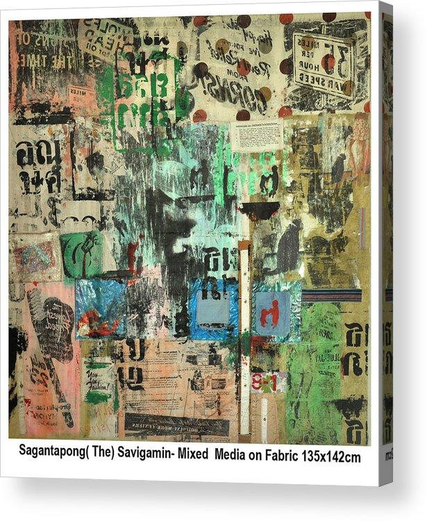 Thai-pop Images Acrylic Print featuring the mixed media Waiting by Sagan Savi