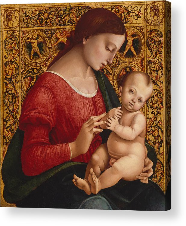 16th Century Art Acrylic Print featuring the painting Madonna And Child by Luca Signorelli