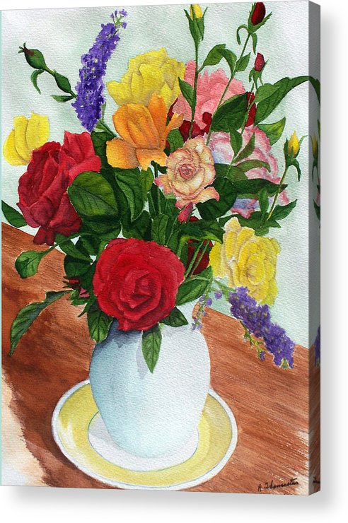Floral Acrylic Print featuring the painting Flowers On A Cat Dish by Robert Thomaston