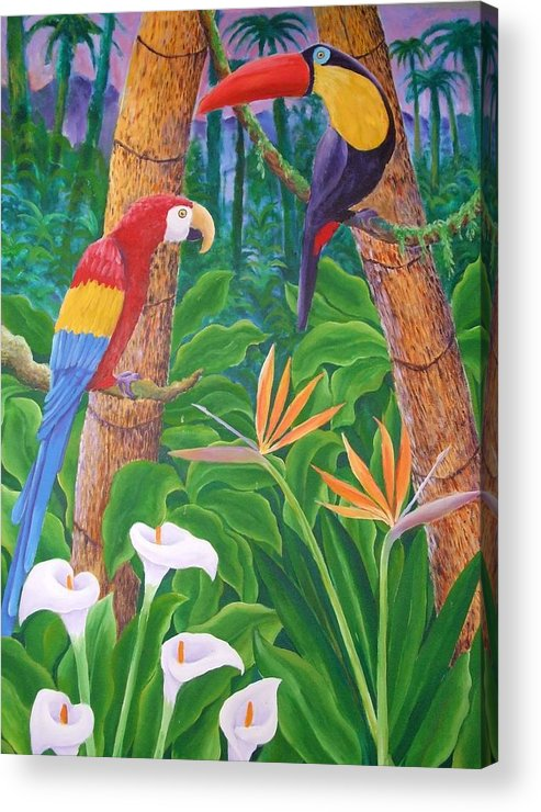 Tropical Landscape Birds Flowers Acrylic Print featuring the painting In The Jungle by Jubamo