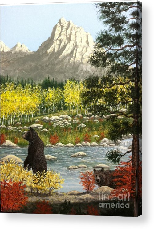 Grizzly Acrylic Print featuring the painting Grizzly Creek by Don Lindemann