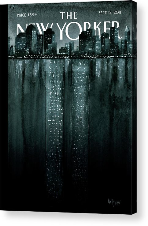 Trade Center Acrylic Print featuring the painting Reflections by Ana Juan