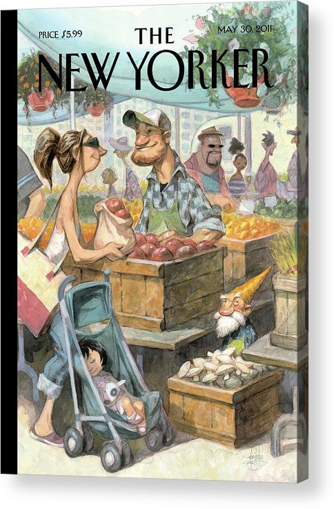Market Acrylic Print featuring the painting Small Growers by Peter de Seve