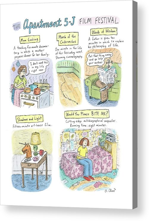 Movies Acrylic Print featuring the drawing New Yorker September 18th, 2006 by Roz Chast