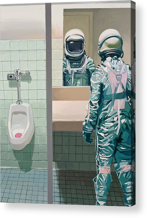 Astronaut Acrylic Print featuring the painting Men's Room by Scott Listfield