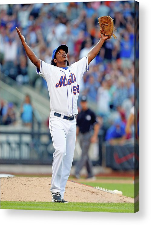 Celebration Acrylic Print featuring the photograph Miami Marlins V New York Mets by Jim Mcisaac