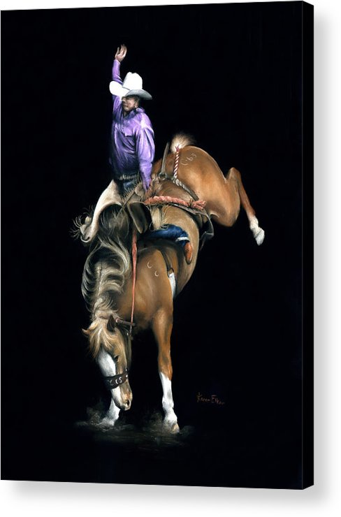 Rodeo Acrylic Print featuring the pastel The Bronc by Karen Elkan