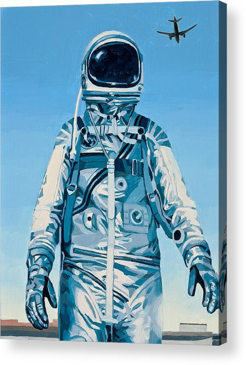 Astronaut Acrylic Print featuring the painting Under the Flight Path by Scott Listfield