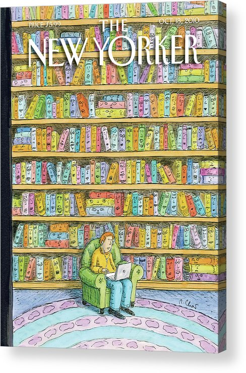 Computer Acrylic Print featuring the painting Shelved by Roz Chast