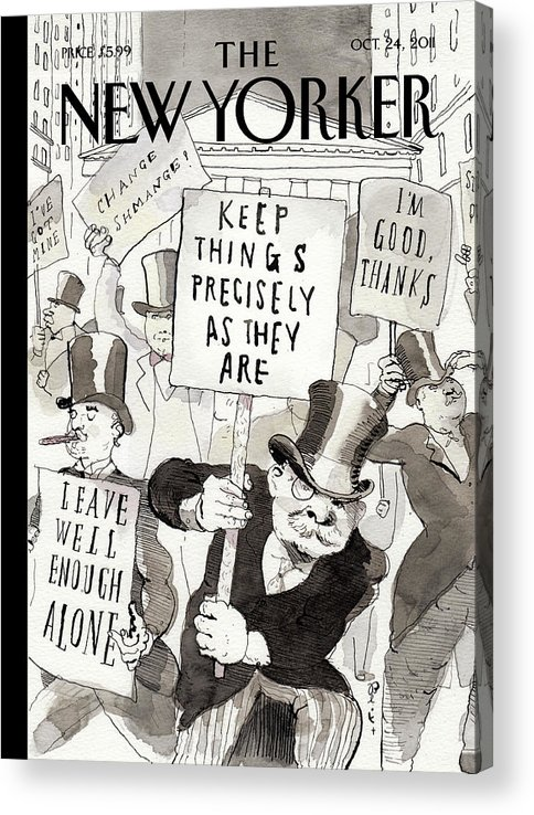 Occupy Wallstreet Acrylic Print featuring the painting Fighting Back by Barry Blitt