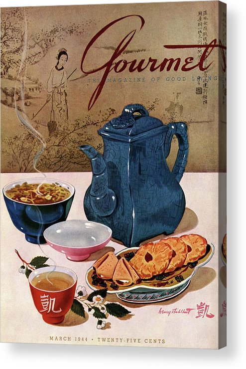 Food Acrylic Print featuring the photograph A Chinese Tea Pot With Tea And Cookies by Henry Stahlhut